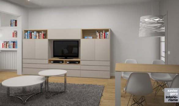 Xavier Gero Interiorismo Barcelona salón comedor con mueble para el televisor