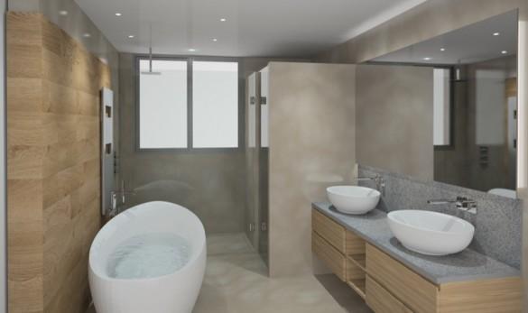 Xavier Gero Interiorismo Barcelona render baño mobiliario madera