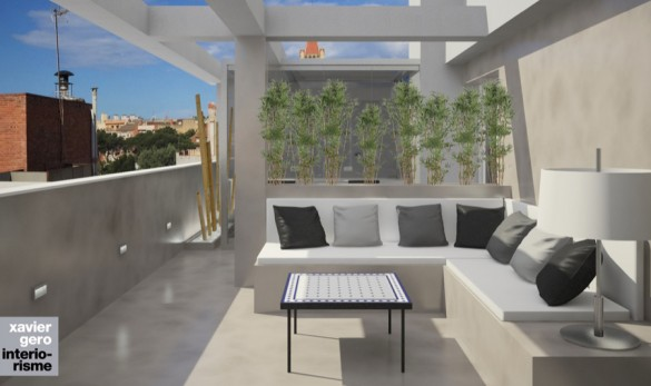 Xavier Gero Interiorismo Barcelona render terraza ático sarrià