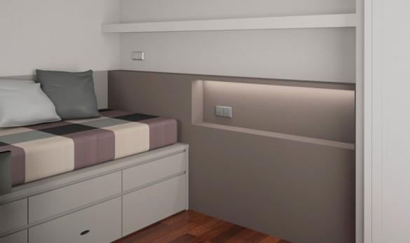 Xavier Gero Interiorismo Barcelona detalle cama habitación juvenil